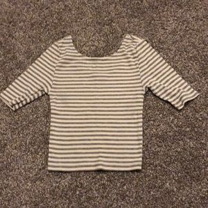 F21 Striped Cropped Tee